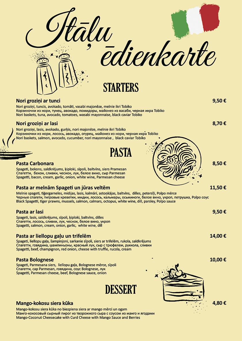 Itāļu ēdienkarte Bento