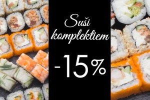 15% off to sushi sets for delivery and take away orders