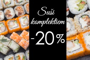 20% off to sushi sets for delivery and take away orders