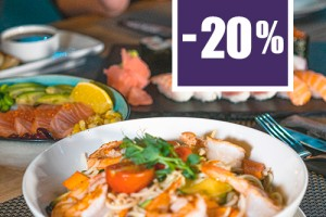 20% off to starters, soups and main courses for delivery orders