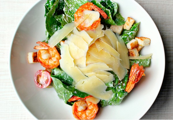 Ceasar salad with tiger prawns
