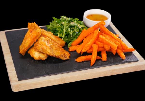 Crispy Peking duck with plum sauce and sweet potatoes