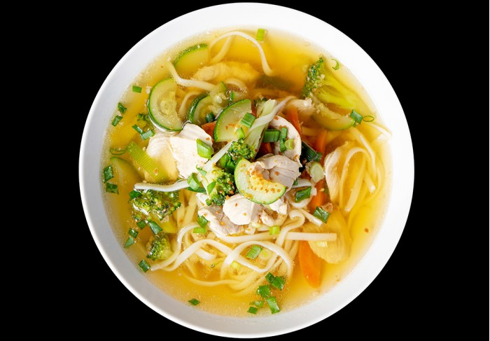 Chicken soup with Udon noodles