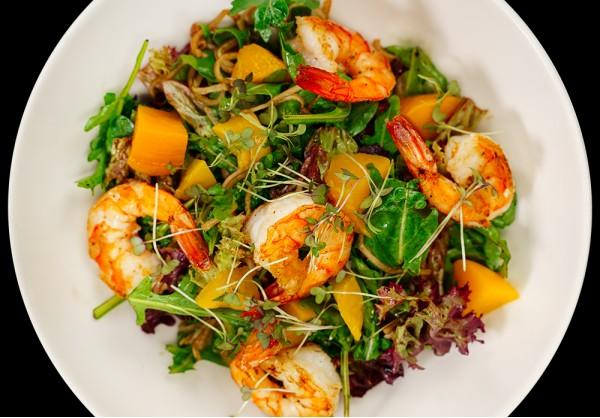 Fresh salad with tiger prawns
