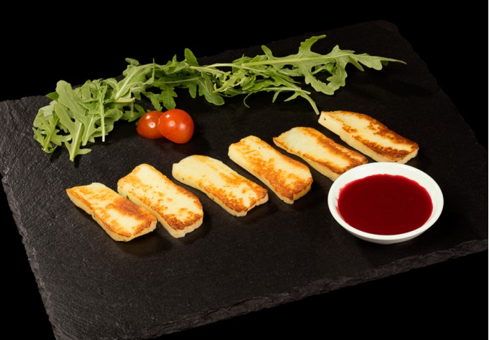 Fried grill cheese with lingonberry sauce