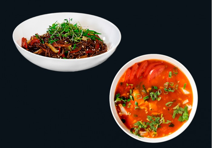 Tomato soup with chicken and Noodles Indonesian style with beef