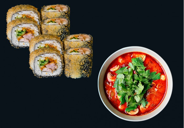 Chicken Tempura maki & Tom Yum soup
